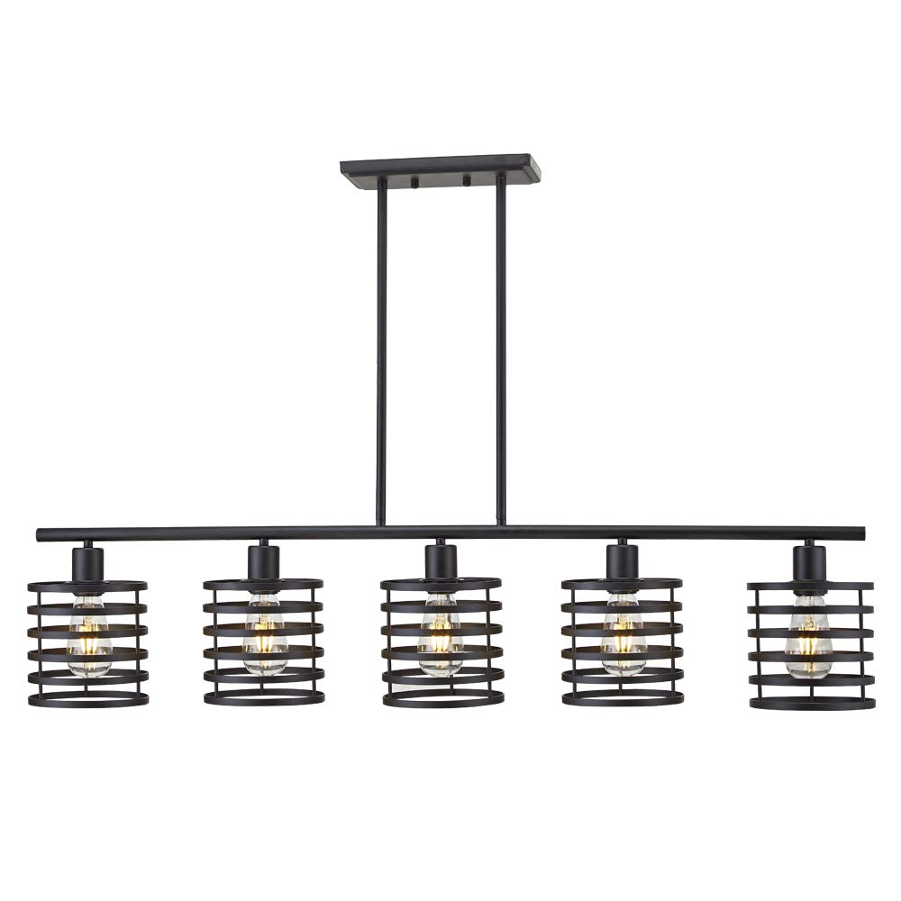 VINLUZ 5 Light Contemporary Shaded Chandelier Black Metal Modern Kitchen Island Pendant Lighting Rustic Farmhouse Ceiling Light Fixtures Dining Room