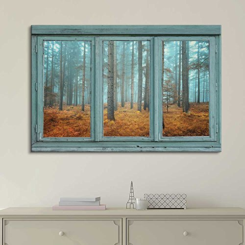 Vintage Teal Window Looking Out Into a Blue Foggy Forest During Fall Time