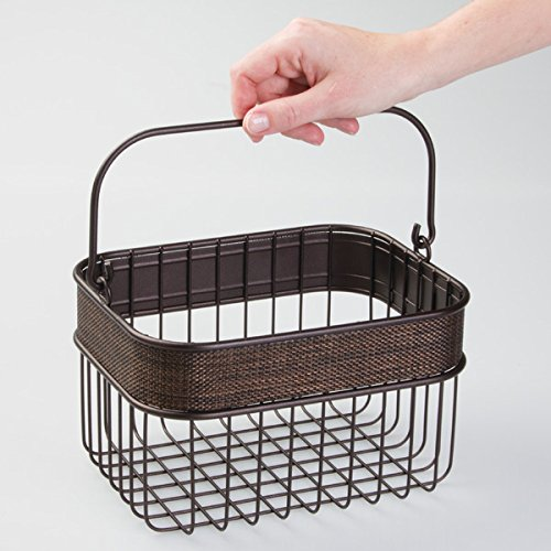 mDesign Household Wire Basket with Handle for Bathroom Storage - Bronze Photo #2