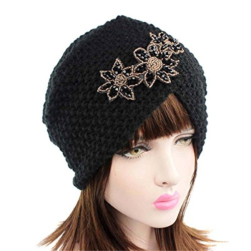 Qhome Ladies Winter Warm Turban Soft Knit Headband Beanie Crochet Headwrap Women Hat Cap with Beaded Jewelry by Qhome cap (Image #2)