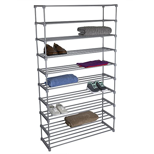 Home Basics Multipurpose Free Standing Shoe Rack Organizer Shelf, Grey (10 Tier Wide)