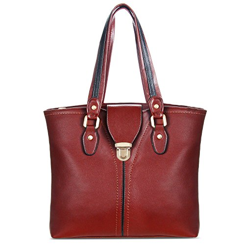 YOLANDO VALEN Tote Bag-Vegan Leather-Soft Touch-With Back Zipper Pocket Wine by YOLANDO