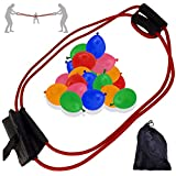 3-Person Water Balloon Bomb Launcher Catapult Slingshot Balloon Toy for Outdoors Including Bonus 300 Bunch Colourful Water Balloons and Carrying Case (Red)