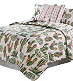 Aster Alley Southwestern Cabin Lodge Style Southwest Design Desert Cactus Flower 3pc Full/Queen Size Quilt Set