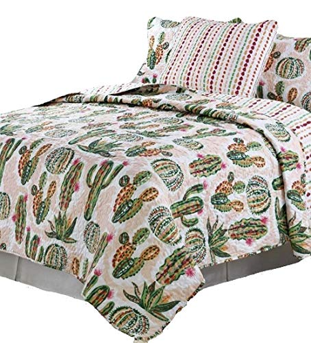 Aster Alley Southwestern Cabin Lodge Southwest Desert Cactus Flower 3pc Full/Queen Size Quilt Set by Aster Alley