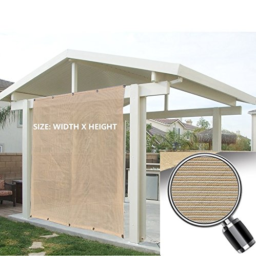 Alion Home Outdoor Sun Shade Privacy Panel with Grommets on 2 Sides for Patio, Awning, Window, Custom To Order (5' x 6', Beige Tan) (Custom Patios)