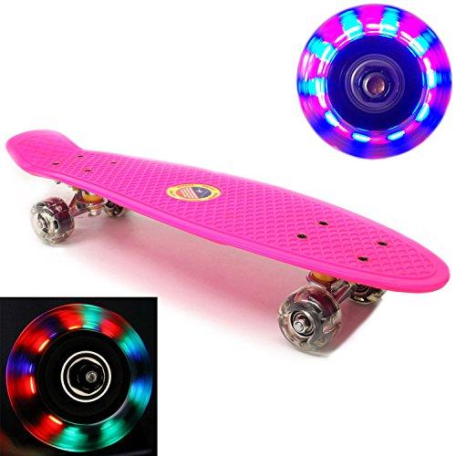 Plastic Skateboard LED Light Up Wheels Penny Retro 22 Mini Street Cruiser