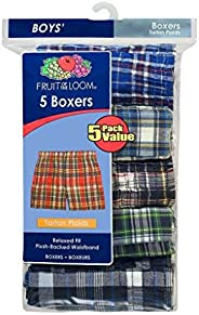 Fruit of the Loom Boys' Tartan Woven Boxer (Pack o