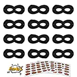 #8: AIMIKE Superhero Masks, Kids Party Dress up Masks, 12Pcs Black 100 Superhero Stickers