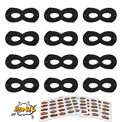 Superhero Masks, Kids Party Dress Up Masks, 12Pcs Black with 100 Superhero Stickers -