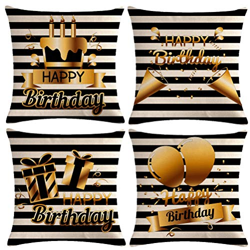 4Pack Happy Birthday Throw Pillow Cover With Cake,Balloons, Gifts Pattern Home Decor Pillowcases Square Cushion Cover 18 X 18 Inches for Family Friends Birthday Decoration( Happy Birthday) ()