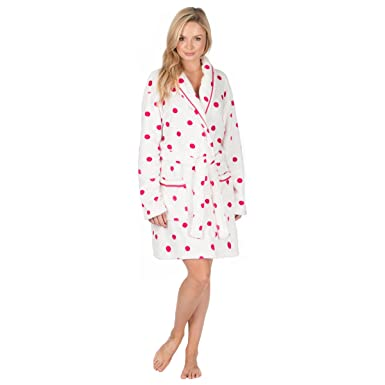Ladies Flannel Fleece Dressing Gown (Sizes S-XL) Shawl Collar Luxury Bath  Robe ff334c5ca