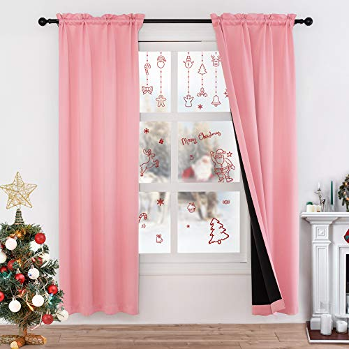 Lofus 100% Blackout Curtains Thermal Insulated Window Curtain, 3 Layers Black Liner Full Room Darkening Soundproof Drapes for Girl Room, 2 Panels, Pink, 38x45 Inch