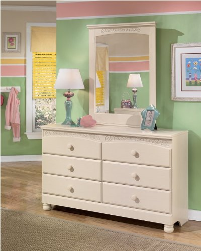 Ashley Furniture Signature Design - Cottage Retreat Dresser - 6 Drawers - Casual Styling - Cream Cottage (Vintage Large Mirror Cream)