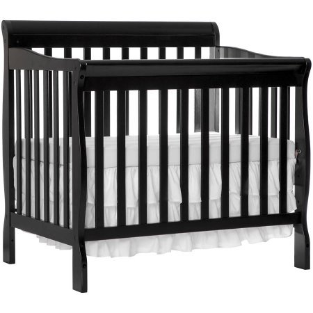 Mini Convertible Crib - Black - 4-in-1 Fixed-Side - Crib Converts Into Daybed and Twin Size Bed - Unisex - Wood Material - Solid Frame - Solid Pine Wood Finish BONUS E-book (Child Care Side Fixed Crib)