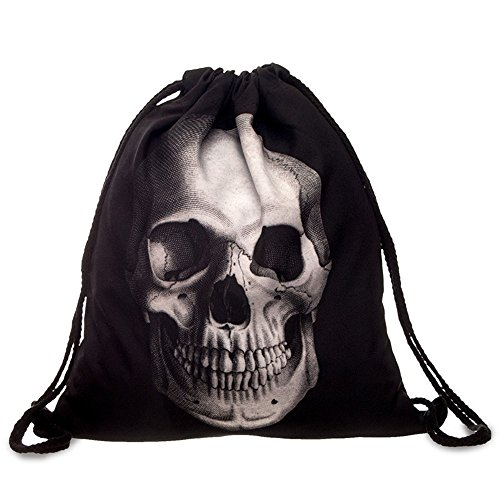 Cevinee™ 3D Printed Drawstring Backpack, Portable Gym Sack Pack, Halloween Party Costumes Bag - Skull (Halloween Costume Parties)