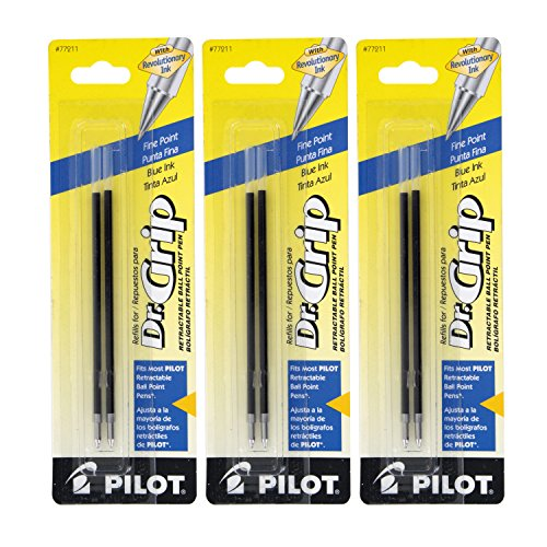 Pilot Better/EasyTouch/Dr Grip Retractable Ballpoint Pen Refills, 0.7mm, Fine Point, Blue Ink, Pack of 6