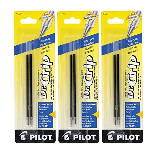 Pilot Better/EasyTouch/Dr Grip Retractable Ballpoint Pen Refills, 0.7mm, Fine Point, Blue Ink, Pack of 6
