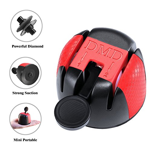 Winner Dinner BL-MDQ01 Mini Portable Knife Sharpener with Powerful Suction Cup,One Hand Operate,Diamond and Ceramic 2 stage Coated, 2 x 2.9in, Red and Black01