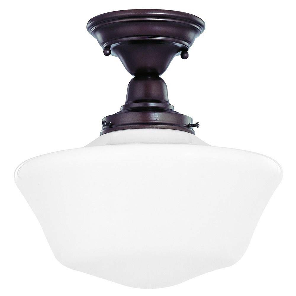 12-Inch Schoolhouse Semi-Flush Ceiling Light in Bronze Finish