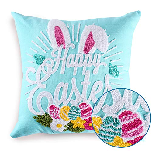 Cassiel Home Happy Easter Embroidery Bunny and Eggs Blue Throw Pillow Covers 18x18 | Easter Day Teal Pillow Covers Decorative Spring Gift