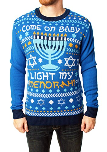 Ugly Christmas Sweater Men's Come On Baby Light My Menorah Hanukkah Sweater-XL Ocean Blue (Ugly Xmas Sweaters For Men)