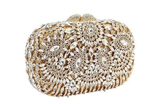 Yilongsheng Deslumbrantes de las señoras de los bolsos de noche con flores brillantes de diamante(oro)