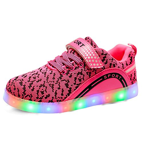 Hanglin Trade LED Flashing Sneakers Light Up Sport Shoes for Boys Girls Breathable USB Charge for Christmas Halloween(Pink 11 M US Little Kid)