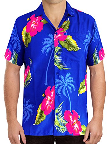 La Leela Aloha Hawaiian Tropical Likre Father Cheap Solid plain male Short Sleeves Button Down Tropical Shirts Royal Blue - Pink H Thanksgiving (Cheap Luau)