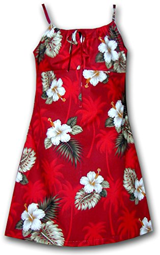 Price comparison product image Hibiscus Island Girls Aloha Spaghetti Dress Red Size 14 166-2798