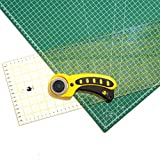 OfficeTree Set cutting mat - 45x30 cm (A3) green + rotary cutter + ruler 60x16 cm - premium quality - for professional cutting work -