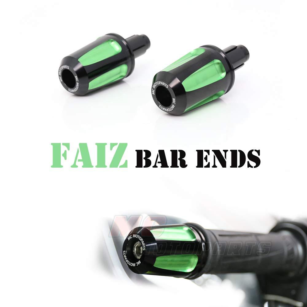 Green FAIZ CNC Bar End Weights For Kawasaki ZX-10R Ninja 2006-2014 ZX-636 RR ZX-6R Ninja 2009-2018