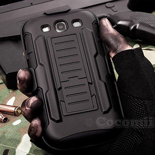 Galaxy S3 Case New [Heavy Duty] Premium Belt Clip Holster Kickstand Shockproof Hard Bumper [Military Defender] Full Body Dual Layer Rugged Cover for Samsung Galaxy S3 (R.Black) ()
