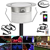 LED Deck Light Kit, 30pcs Φ1.77'' WiFi Wireless Smart Phone Control Low Voltage Recessed RGBW Deck Lamp In-ground Lighting Waterproof Outdoor Yard Path Stair Landscape Decor, Fit for Alexa,Google Home