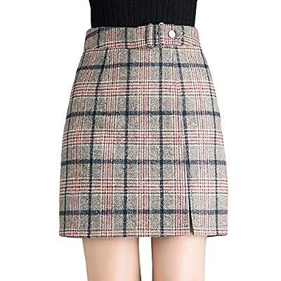 Wincolor Women's Wool Blend A-line Plaid Checked Mini Tartan Skirt High Waisted Short Straight Tube Skirts