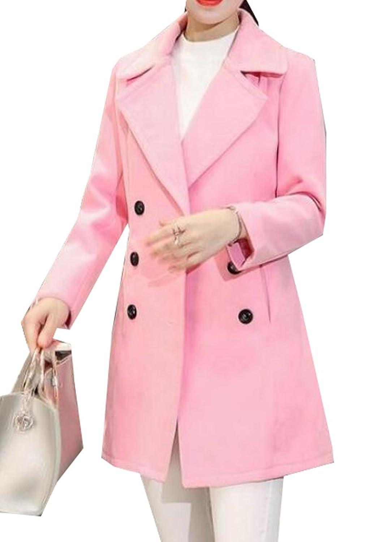 Vska Women's Classic Double Breasted Slim Fit Wool Blend Pea Coat