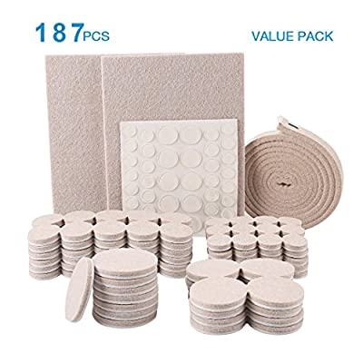 187 Value Pack Furniture Pads Multi Sizes & Silicone Bumper Pads Heavy Duty Adhesive Felt Pads Furniture Legs Pads Protect Your Wood Floor Hardwood & Laminate Flooring