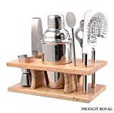 crate and barrel aluminum stools Produit Royal 8 Pcs Stainless Steel Bar Set Tools Bartender Cocktail Shaker Mixer Barware Kit Martini Drink Professional Piece Party Jigger Mixing with Wood Stand Home Restaurant Bar new