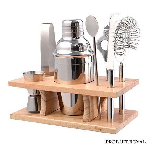 Produit Royal 8 Pcs Stainless Steel Bar Set Tools Bartender Cocktail Shaker Mixer Barware Kit Martini Drink Professional Piece Party Jigger Mixing with Wood Stand Home Restaurant Bar - Beach Manhattan Macy's In