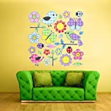 Full Color Wall Vinyl Sticker Decals Art Bedroom Kids Nursery Birds and Flowers Decor Set (Col93)