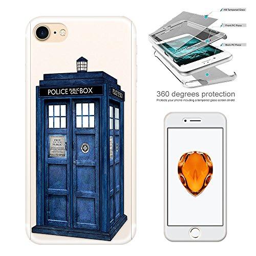 c00076 - Doctor Who Tardis Police Call Box Design iphone 5 5S /SE Komplett 360° Grad Vollschutz Schild Hülle Front&Back Hülle +Tempered Glass Screen