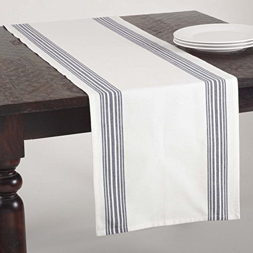 SARO LIFESTYLE 519.NB1672B Striped Design Cotton Table Runner, Navy Blue, 16