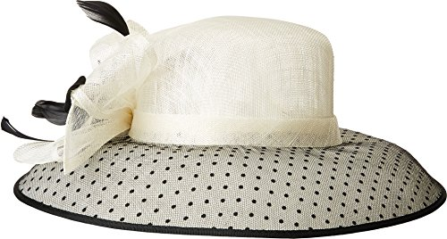 Flocked Dot Dress - San Diego Hat Company Women's DRS1013 Derby Sinamay Dress Hat with Flocked Dot Brim Black/White One Size