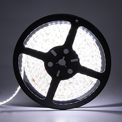 LEDMO SMD 2835 White Non-waterproof LED Light Strip - DC12V 600LEDs 16.4 Ft 6000K 15Lm/LED High CRI80, LED Strip Light, 3 times brightness than SMD3528 LED Strip