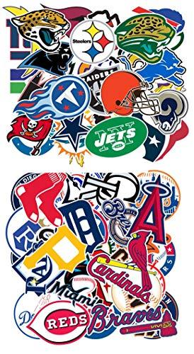 Waterproof Sport Fans Stickers of 30 Pcs MLB Baseball Team Logo 32 NFL Football Team Logo for Kids Teens Boys Children and Adult for Laptop Water Bottle Bumper Moto Helmet Luggage Sports Equipment