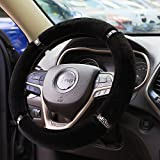 "Valleycomfy Winter Warm Australia Pure Wool Handbrake Cover Gear Shift Cover Steering Wheel Cover 14.96""x 14.96"" 1 Set 3 Pcs (Black Style 2)"