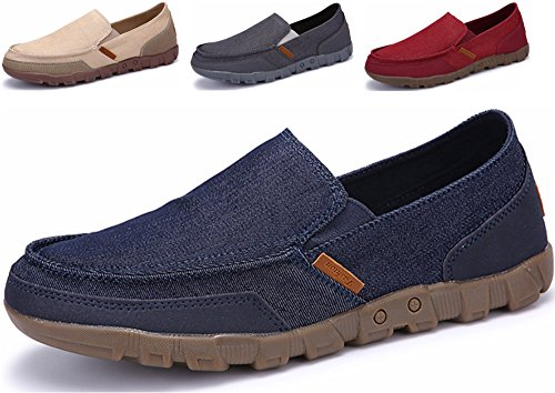 Go Tour Mens Classic Canvas Comfort Casual Driving Penny Slip On Mocassini Blu Navy