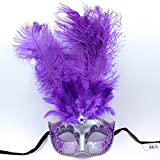 Masquerade Ostrich Tall Feather Venetian Silver Glitter Party Mask-Purple