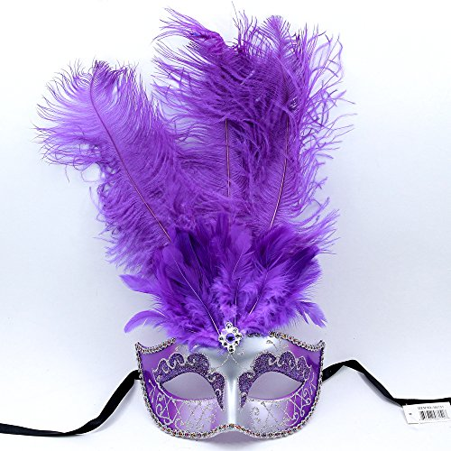 Masquerade Ostrich Tall Feather Venetian Silver Glitter Party Mask-Purple by L.M.K