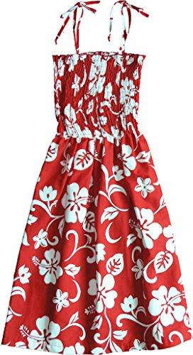 RJC Women's Hibiscus Pareo Hawaiian Smocked Sundress Red XL